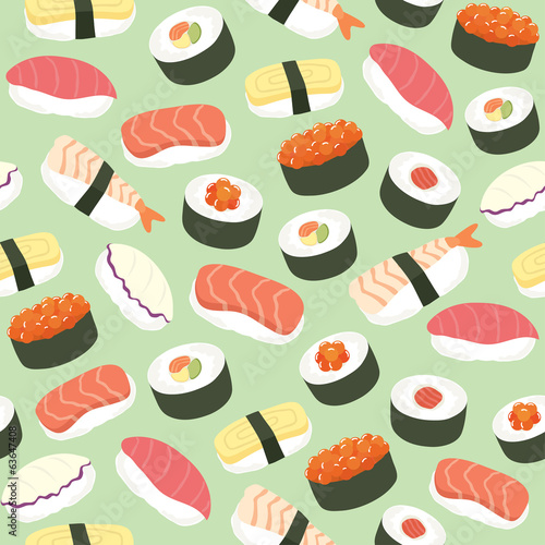Cute Sushi background seamless pattern