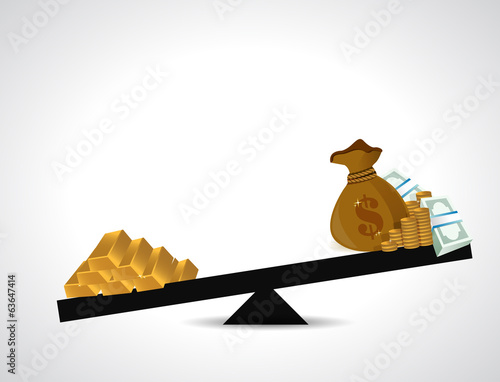 gold and money balance illustration design