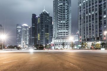 light trails on shanghai