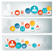 Set of business banners with colorful icons. Vector