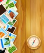 Travel photos and compass on wood background. Vector illustratio