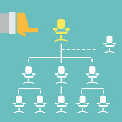 Businessman hand pointing employee organization chart