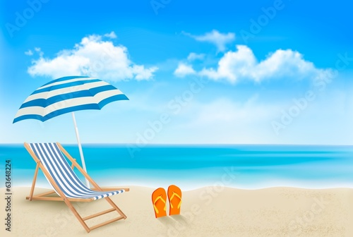 Seaside view with an umbrella, beach chair and a pair of flip-fl
