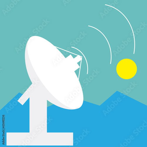 satellite and antenna technology with moon light
