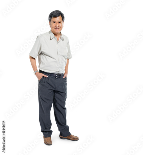 Confident Mature Man Standing and Smiling