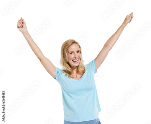 Cheerful Smart Casual Woman Celebrating