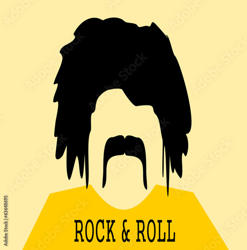 rock and roll man with bushy hair and mustache
