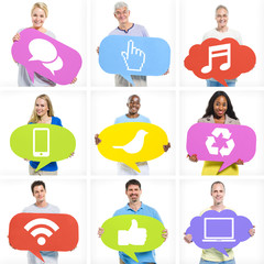 Group of Diverse Multi-Ethnic People Holding Speech Bubbles With