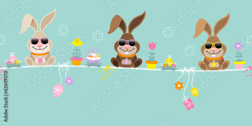 Slim Easter 3 Bunnies Sunglasses Symbols Retro