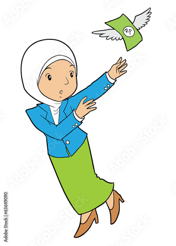 Muslim office lady catching flying money