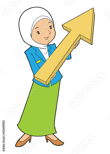 Muslim office lady holding big arrow