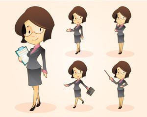 cartoon business woman set various poses