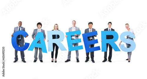 Business People Holding the Word Careers
