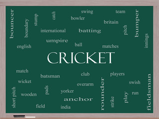 Cricket Word Cloud Concept on a Blackboard