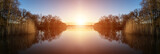Stunning Spring sunrise landscape over lake with reflections and - 63649638