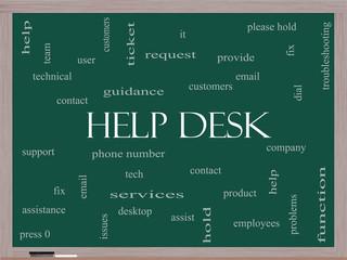 Help Desk Word Cloud Concept on a Blackboard