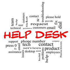 Help Desk Word Cloud Concept in red caps