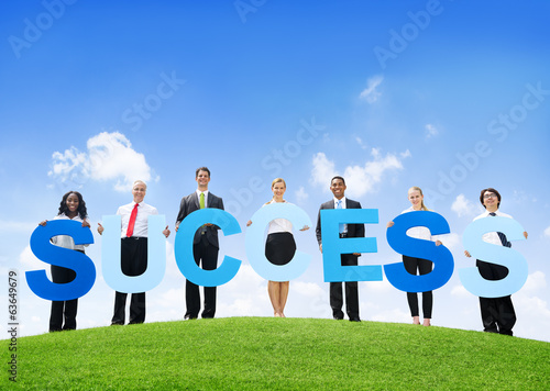 Business People Outdoors Holding Success