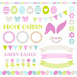 Easter Icon Set Pastel Green/Pink/Blue