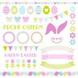 Easter Icon Set Pastel Green/Pink/Blue