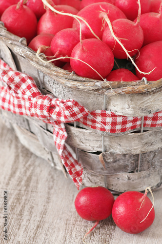 Radish in basket