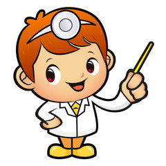 Doctor mascot the direction of pointing. Work and Job Character