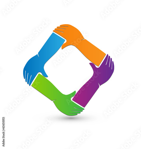 Holding hands teamwork logo vector
