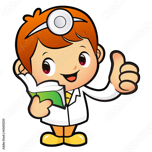 Doctor Mascot the right hand best gesture and left hand is holdi