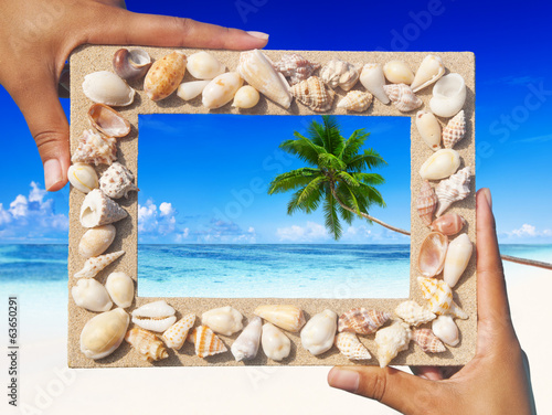 Sand Frame on Tropical Beach