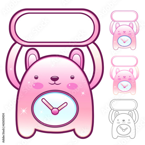 Different styles of Clock Mascot Sets. Appliances Items Characte