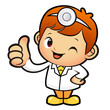Doctor Mascot the hand best gesture. Work and Job Character Desi
