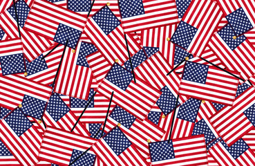 Miniature American flags background