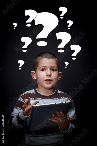 Boy with question mark symbols
