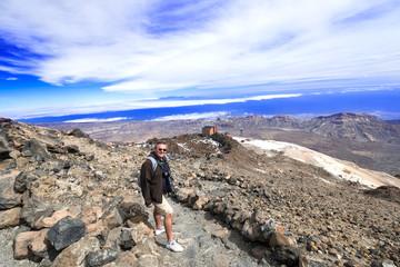 Man at mountain landscape near volcano Teide