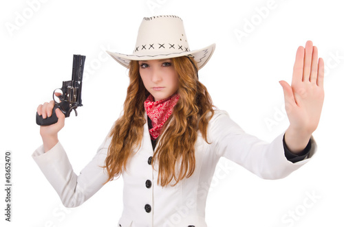 Young stopping  cowgirl with gun  isolated on white