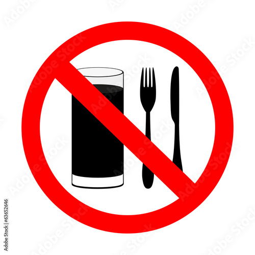 "prohibitory sign ""with food and beverages are not permitted"""