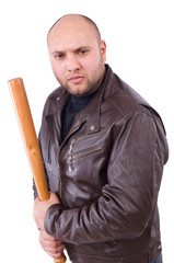 Violent man with baseball bat on white