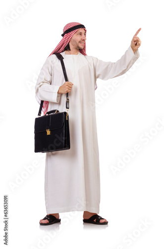 Arab man with briefcase pressing virtual buttons  isolated on wh