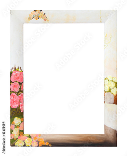 Photo frame with flower background, clipping path.