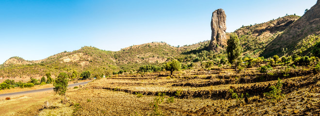 Panoramic view of the Ethiopian countryside .