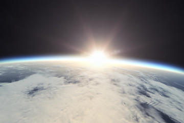earth with sunrise in space