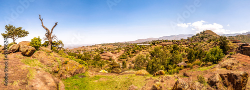 Panoramic view at the Lalibela mountains