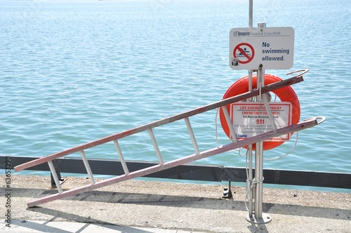 Life saving equipments in a no swimming area