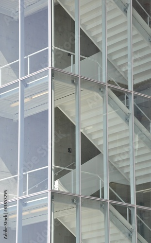 Stairs inside the glass building
