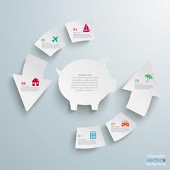 Success Arrow 6 Pieces Cycle Piggy Bank