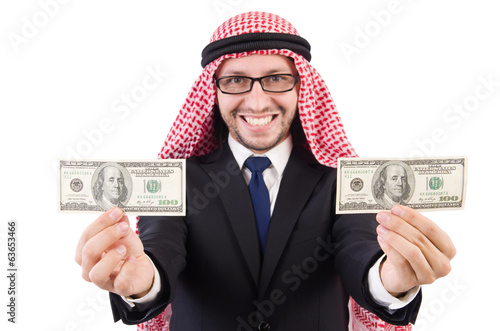 Arab businessman in eyeglasses with dollar  concept   isolated o