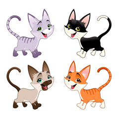 Set of funny cats.