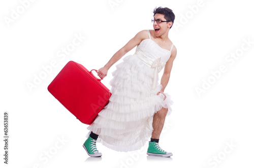 Funny man wearing in woman dress preparing on vacation  isolated