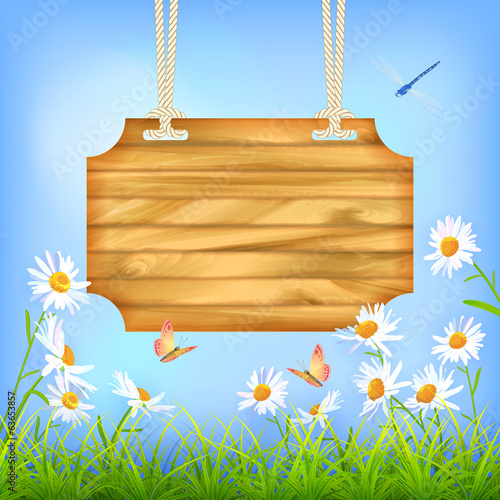 Sky Green Grass Flowers Wood Board…