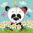 Panda with flowers